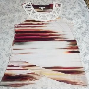 EUC LAYERED TANK TOP BEAUTIFUL COLLAR DETAIL SZ S